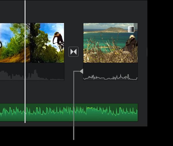 Un indicatore di split editing viene visualizzato nella porzione audio di una transizione nella timeline.