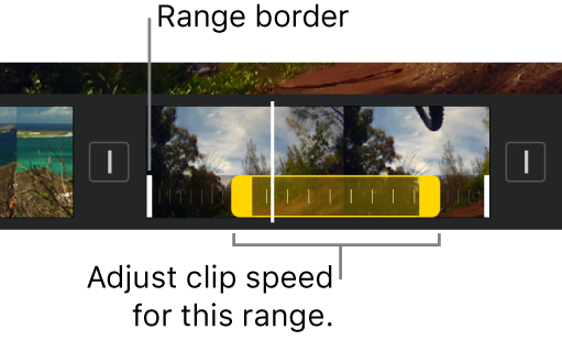 A speed range with yellow range handles in a video clip in the timeline, with white lines in the clip indicating range borders.