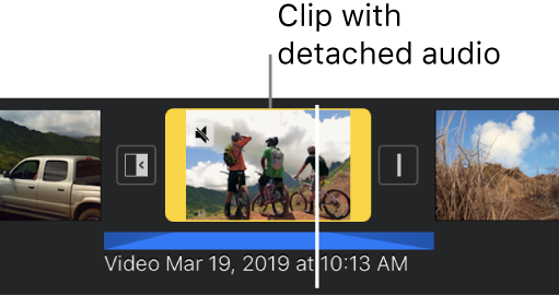 A video clip in the timeline with a blue detached audio clip below.