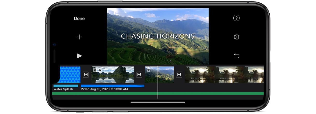 A movie project in iMovie on an iPhone.