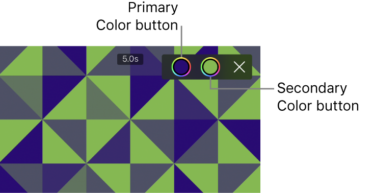 The viewer showing a green-and-blue pattern background with primary and secondary Color buttons in the upper right.