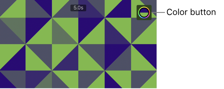 The viewer showing a green-and-blue pattern background and the Color button in the upper right.