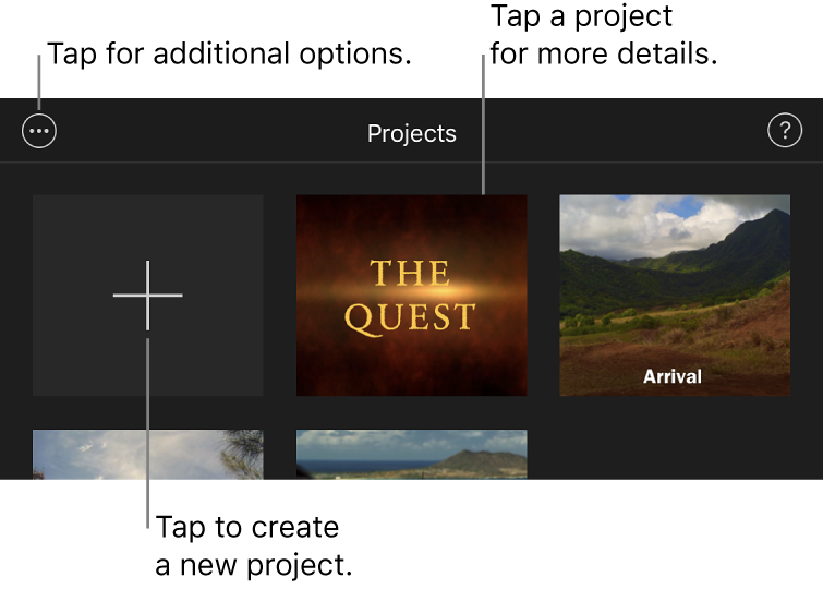 Projects in the Projects browser, with the Create and More Options buttons at the top left.