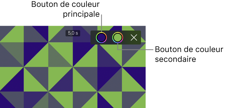 Le visualiseur affichant un arrière-plan à motifs vert et bleu, ainsi que les boutons correspondant aux couleurs primaire et secondaire dans le coin supérieur droit.