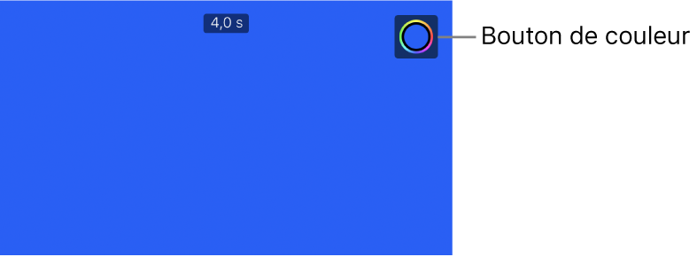 Le visualiseur affichant un arrière-plan uni bleu et le bouton Couleur dans le coin supérieur droit.