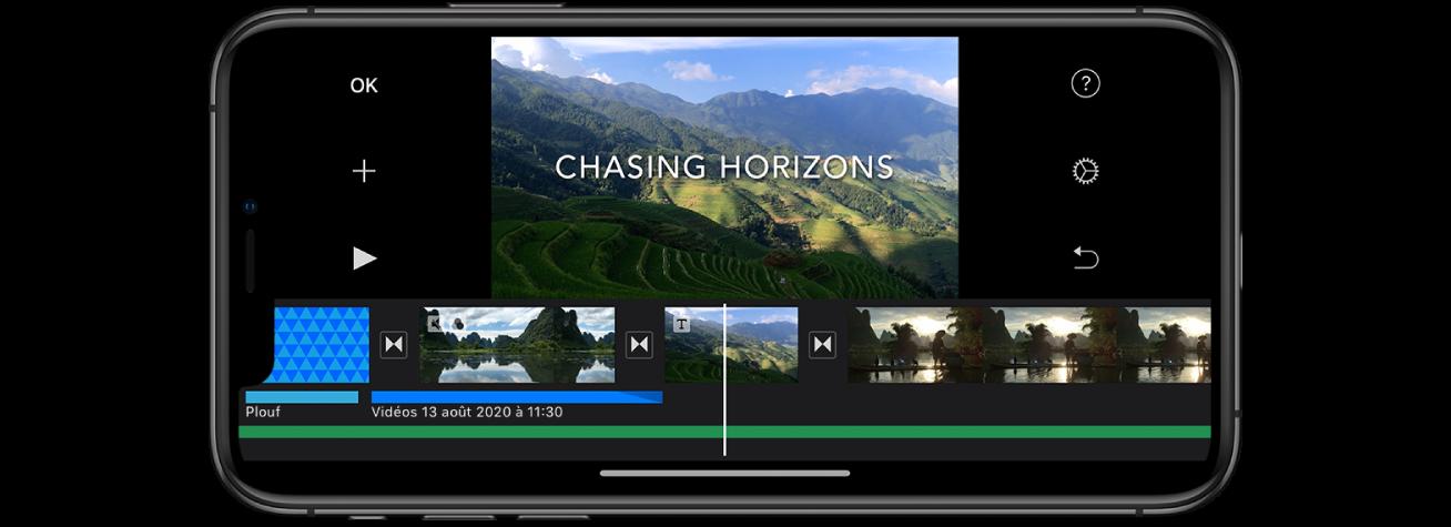 Un projet de film dans iMovie sur un iPhone.