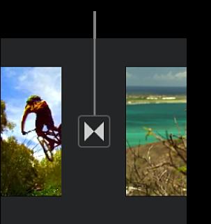 Un'icona che indica una transizione tra due clip nella timeline.