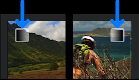 Icone di dissolvenza in entrata e in uscita mostrate negli angoli di clip nella timeline.