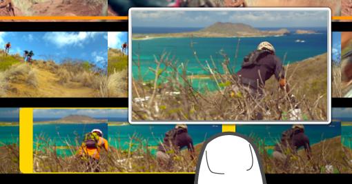 Un clip che viene tagliato nel browser dei file multimediali.