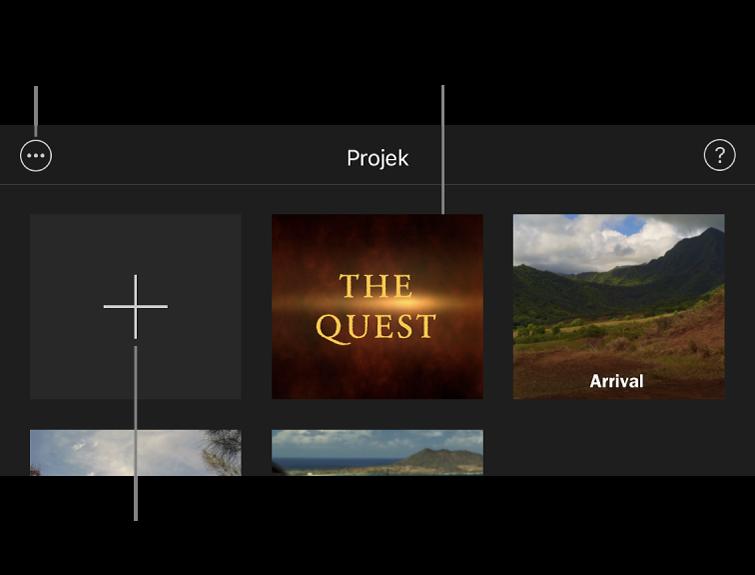 Projek dalam pelayar Projek, dengan butang Cipta dan Pilihan Lanjut di bahagian kiri atas.