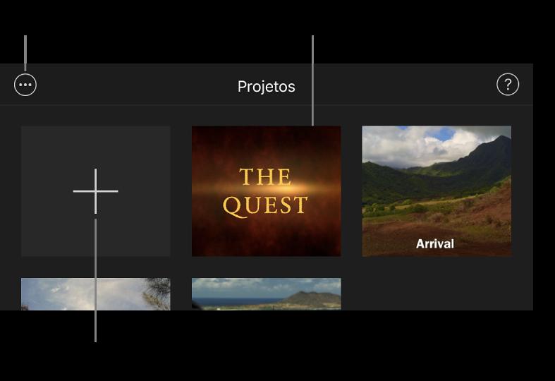 """Projetos no navegador de projetos com os botões Criar e """"Mais opções"""" na parte superior esquerda."""
