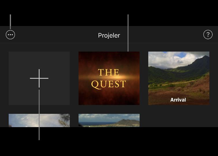 Proje tarayıcıda sol üstte Yarat ve Daha Fazla Seçenek düğmeleri ile Projeler.