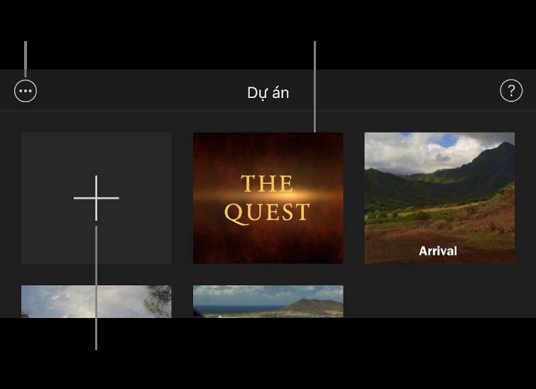 Các dự án trong trình duyệt Dự án, với các nút Tạo và Tùy chọn khác ở trên cùng bên trái.