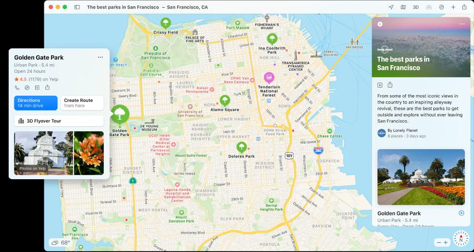 خريطة سان فرانسيسكو. حول الخريطة، على اليمين واليسار، توجد أدلة الطعام والسفر.