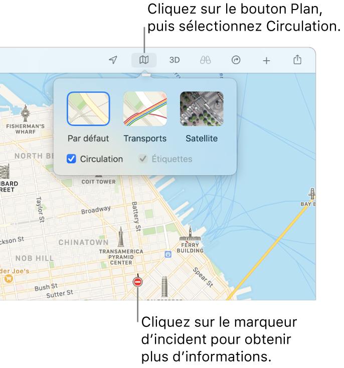 Un plan de SanFrancisco avec les optons du plan affichées, la case Circulation cochée, et les incidents de circulation sur le plan.