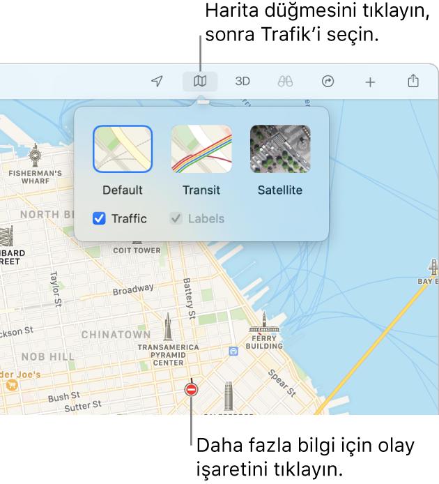 Bir San Francisco haritasında harita seçenekleri görüntüleniyor, Trafik onay kutusu seçili ve haritada trafik kazaları var.