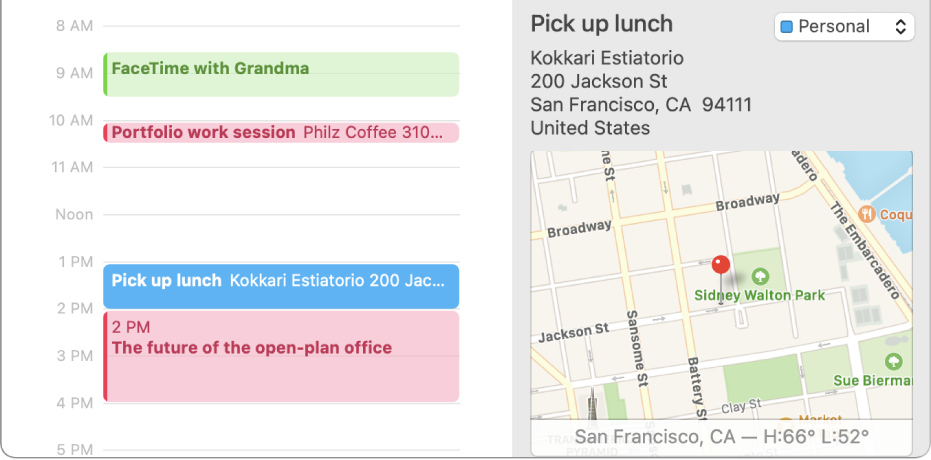 A Calendar window in Day view with an event selected. The event details are shown on the right, including the location name and address and a small map.