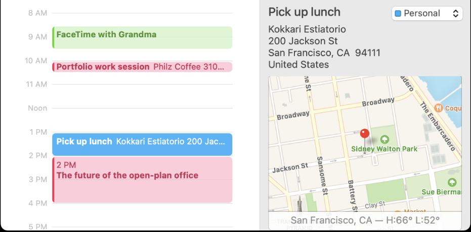 Una ventana de Calendario con visualización por día, con un evento seleccionado. Los detalles de un evento se muestran a la derecha, con el nombre de la ubicación y la dirección, así como un mapa pequeño.