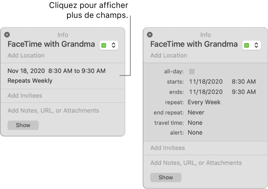 L'image sur la gauche montre une fenêtre d'informations condensée pour un événement. Sur la droite, la fenêtre d'information pour ce même événement est développée et contient des champs supplémentaires, tels que l'heure de début, l'heure de fin, la récurrence et la durée de trajet.