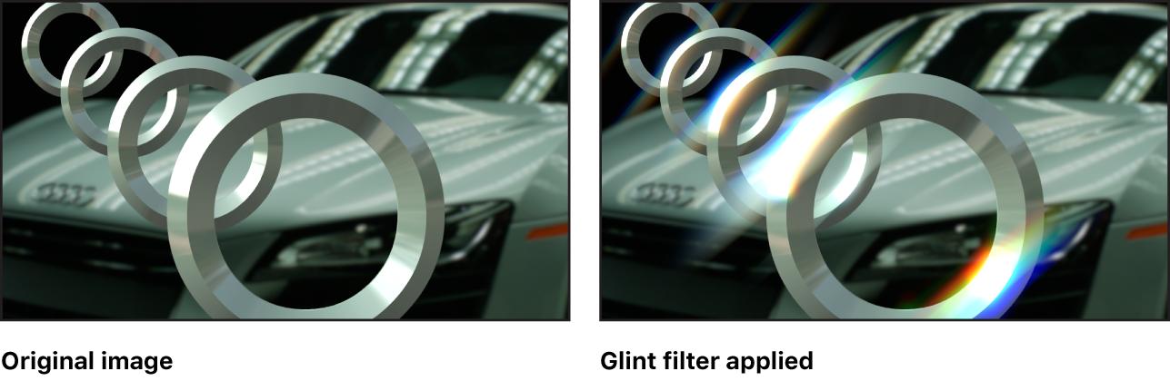 "Canvas mit dem Effekt des Filters ""Glitzern"""