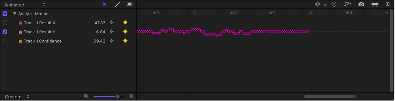 Keyframe-Editor mit Optionen des Animationsmenüs und einer Kurve mit einem Keyframe an jedem Bild