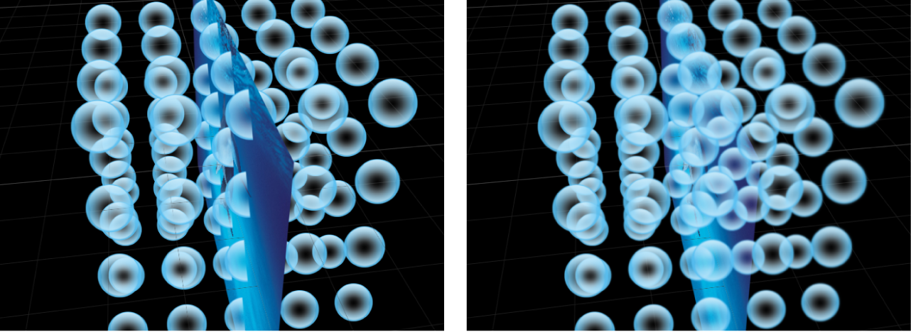 Canvas mit 3D-Replikator vor und nach der Rasterung