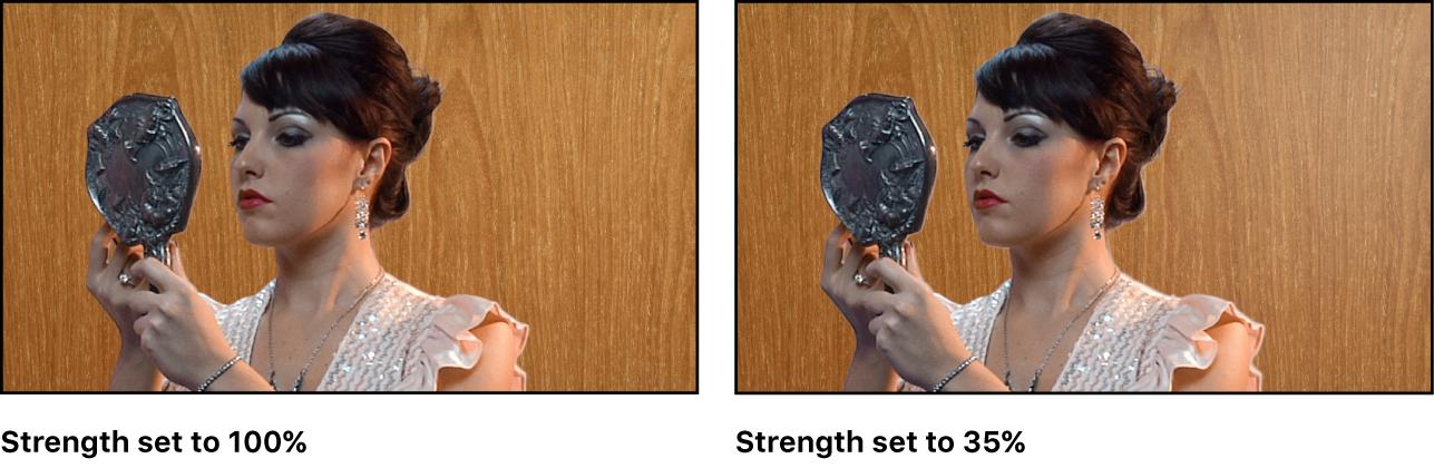 """Vergleich zweier ausgestanzter Bilder im Canvas Im ersten Beispiel ist der Parameter """"Stärke"""" auf 100 Prozent eingestellt Im zweiten Beispiel ist der Parameter """"Stärke"""" auf 35 Prozent eingestellt"""