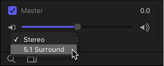 """Liste """"Audio"""" mit Einblendmenü für den Ausgangskanal im Bereich der Master-Audiospuren"""