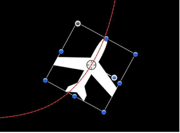 Canvas mit einem Objekt, auf das ein kreisförmiger Bewegungspfad angewendet wurde