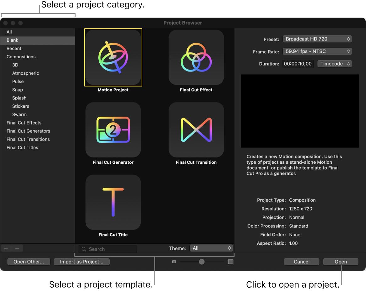 Fenster der Projektübersicht