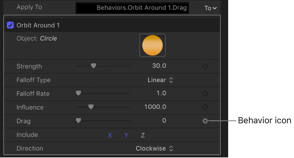 Verhaltenssymbol über der Keyframe-Taste des beeinflussten Parameters