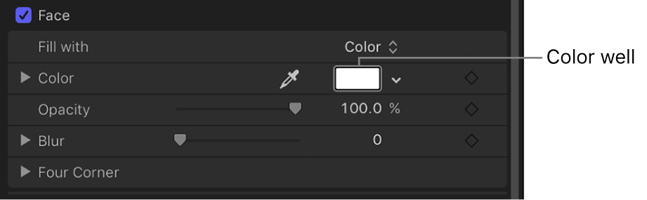 Farbfeldsteuerelement im Informationsfenster