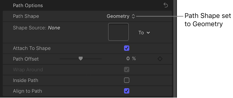 Path Shape pop-up menu set to Geometry in Layout pane of Text Inspector