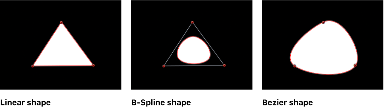 Canvas showing linear shape, B-Spline shape, and Bezier shape