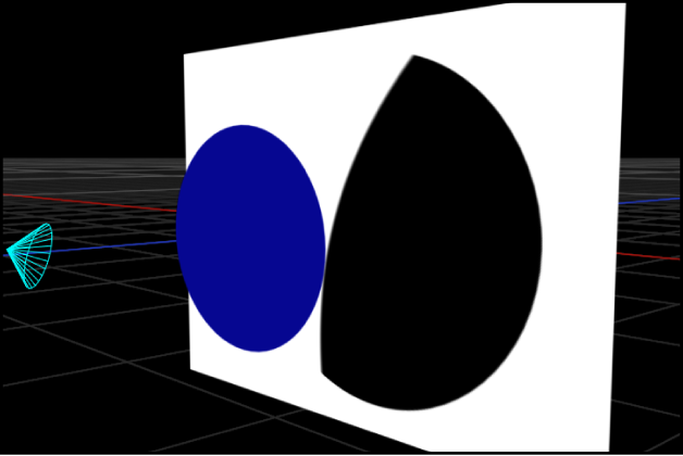 Canvas showing a spot light casting a shadow that exceeds its cone, when lights are turned off