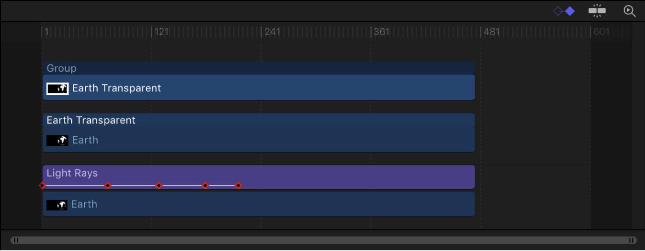 Timeline showing keyframes on a layer