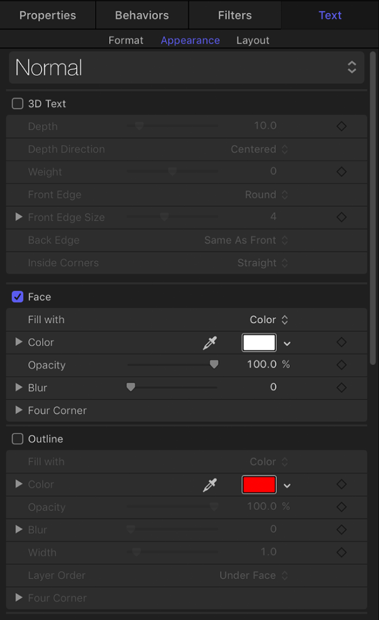 Appearance pane in the Text Inspector