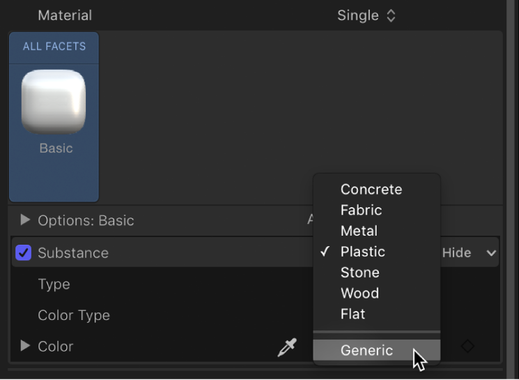 Choosing Generic from the Substance pop-up menu in the Appearance pane of the Text Inspector