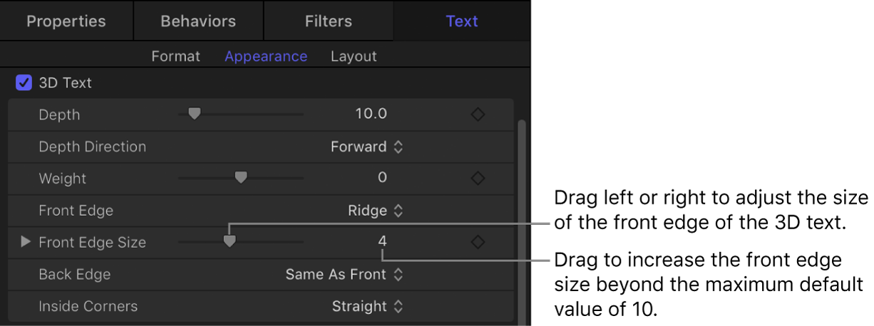 Front Edge parameters in the Appearance pane of the Text Inspector