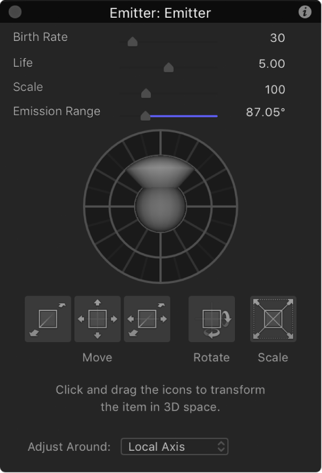 HUD showing emitter controls when Adjust 3D Transform tool is selected