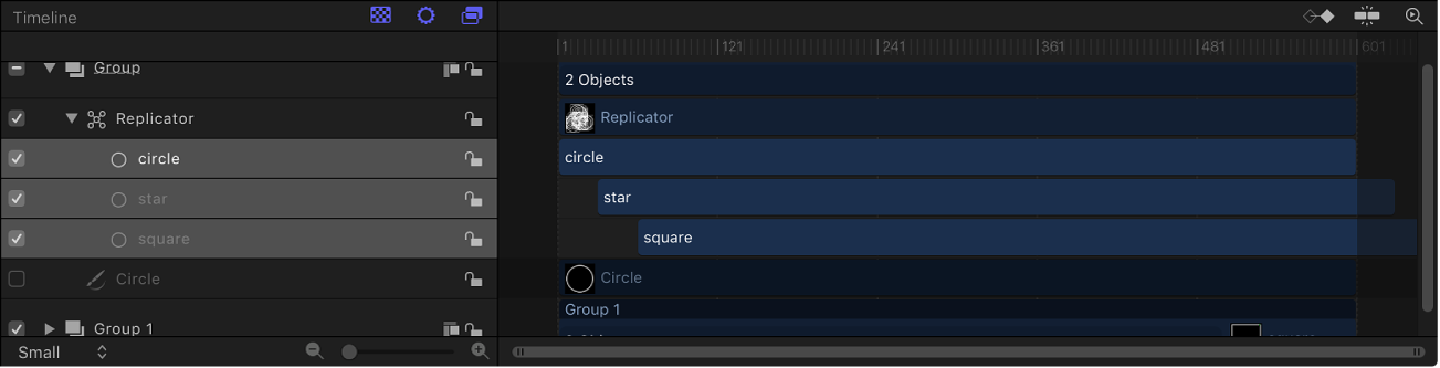 Timeline showing replicator with cells offset in time