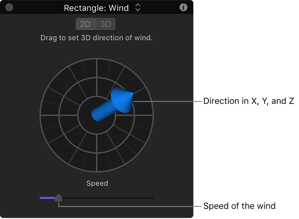 HUD showing special controls for Wind behavior in 3D mode