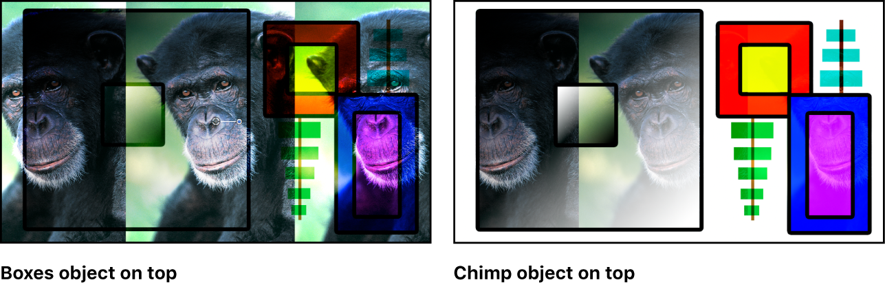 Canvas showing the boxes and the monkey blended using the Overlay mode