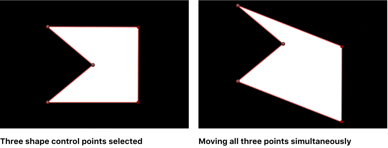 Canvas showing multiple control points selected and moved together