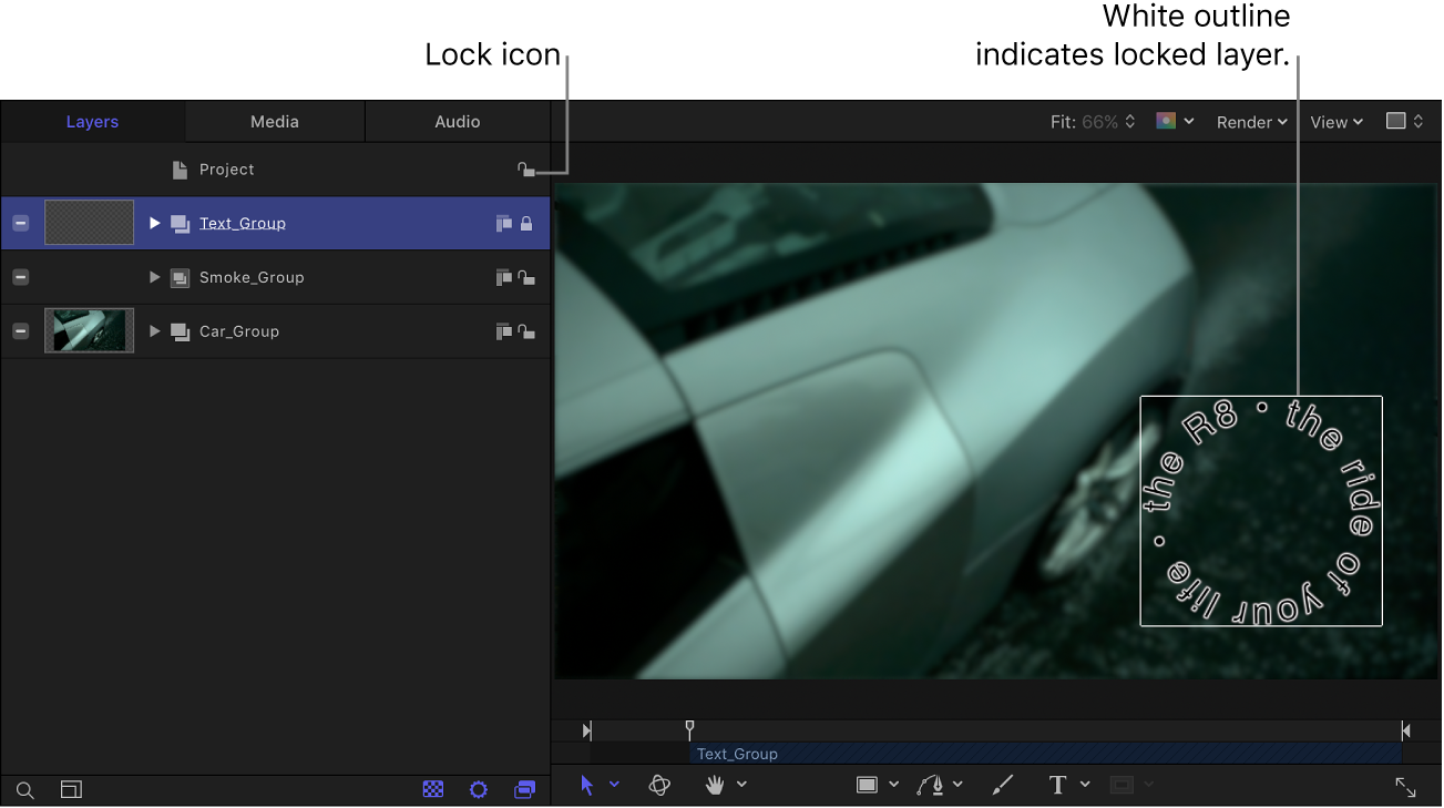 Layers list showing lock icon and canvas showing locked object