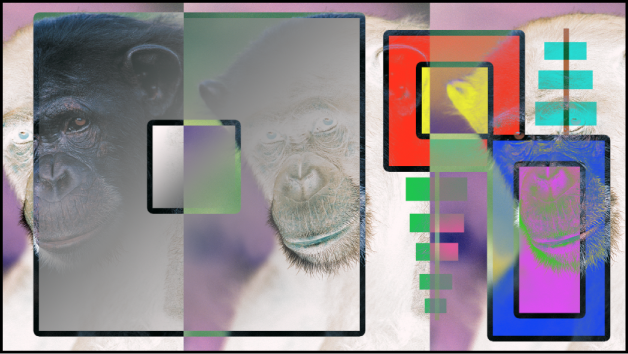 Canvas showing the boxes and the monkey blended using the Exclusion mode