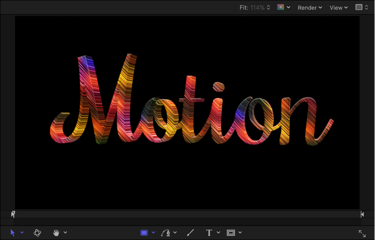 Example of 3D text in the canvas with an applied Motion material layer