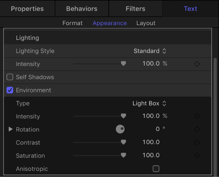 Environment controls in the Appearance pane of the Text Inspector