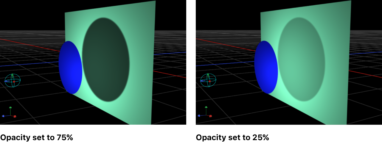 Canvas showing object with shadow opacity set to 75% and set to 25%