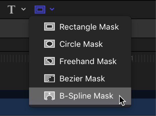 B-Spline Mask tool in the canvas toolbar
